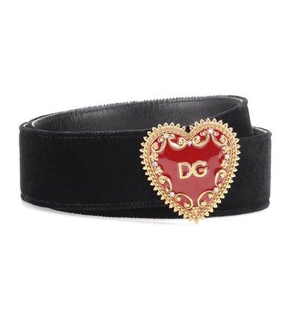 Embellished velvet belt