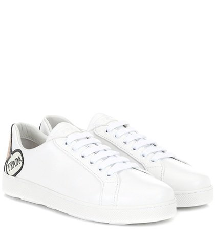 Appliquéd leather sneakers
