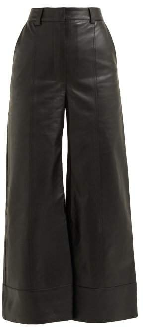Ivgenia High Waist Wide Leg Leather Trousers - Womens - Black