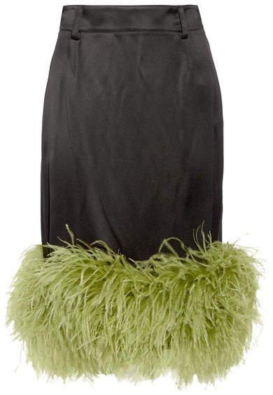Feather-trimmed Satin Midi Skirt - Black