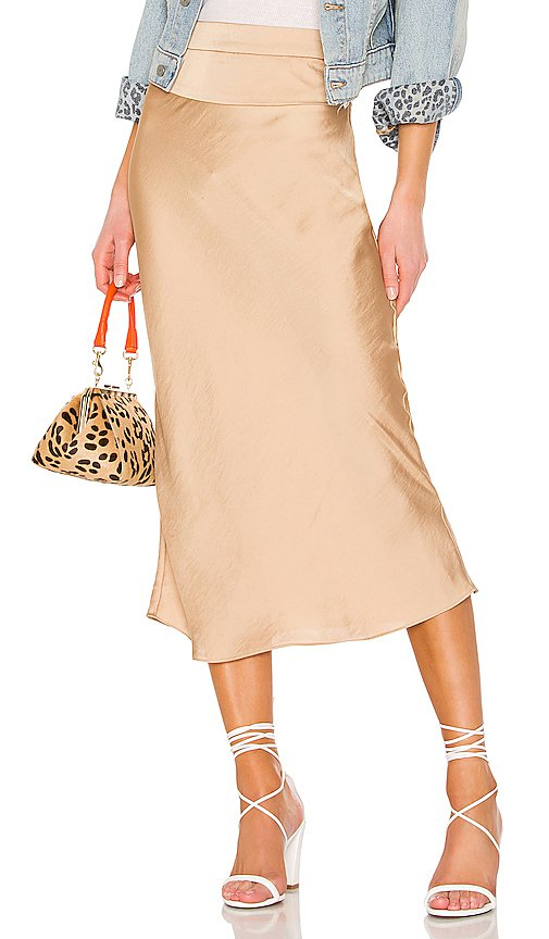 Free People Normani Bias midi Skirt in Gold | REVOLVE