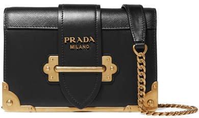 Cahier Mini Leather Shoulder Bag - Black