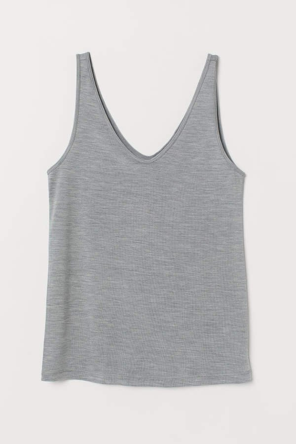 Silk-blend Tank Top - Gray
