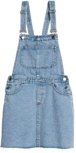 Denim Bib Overall Dress - Blue