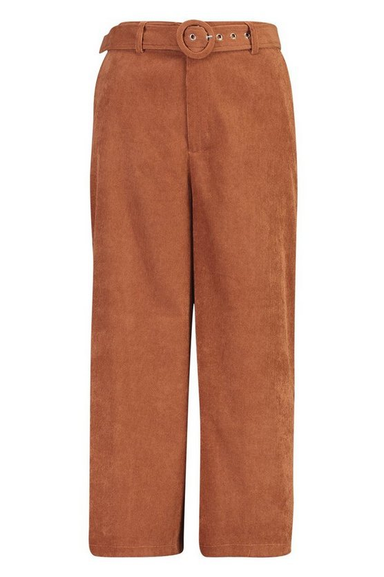 Cord Self-Belt Culottes pants | Boohoo