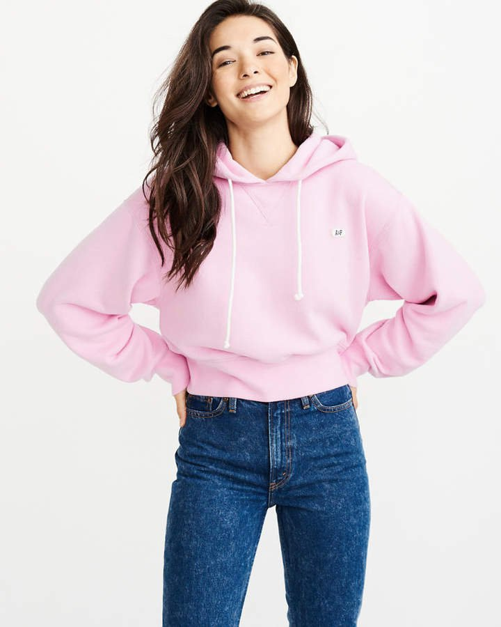 A&F Women's Cropped Hoodie in Lilac/Purple - Size L