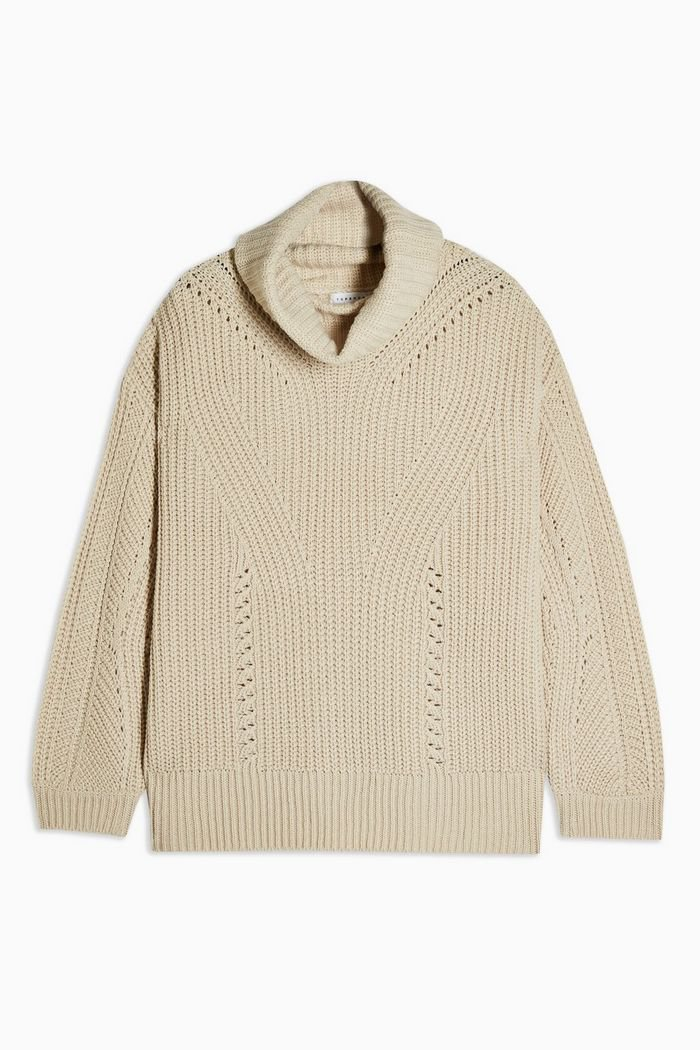 Oat Knitted Roll Neck sweater Jumper | Topshop