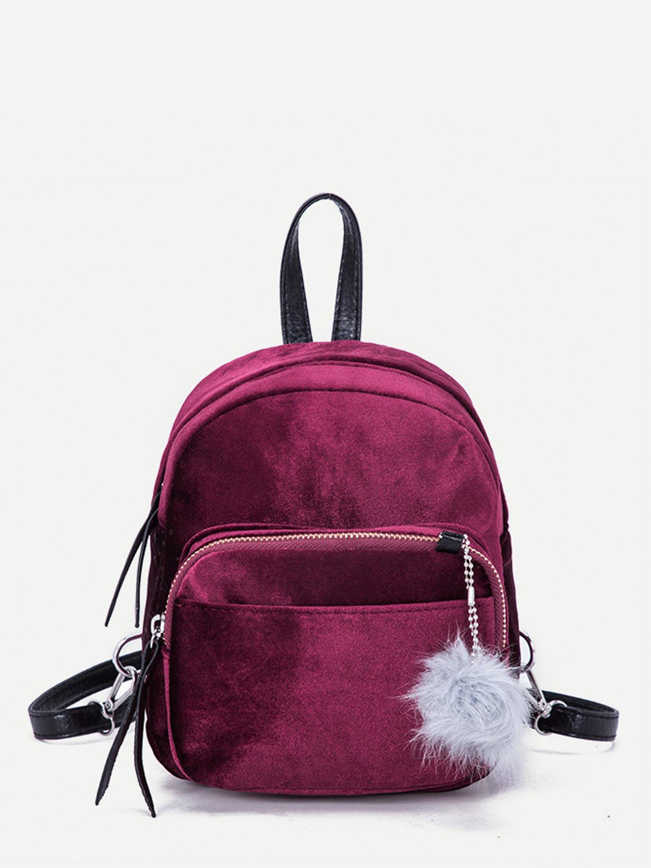 Pom Pom Decor Suede Backpack