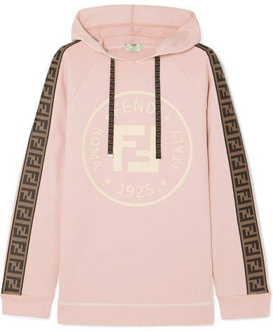 Oversized Shell-trimmed Printed Cotton-blend Terry Hoodie - Pastel pink
