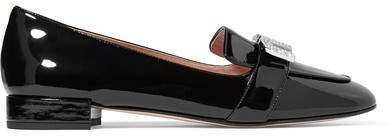 Crystal-embellished Patent-leather Loafers - Black