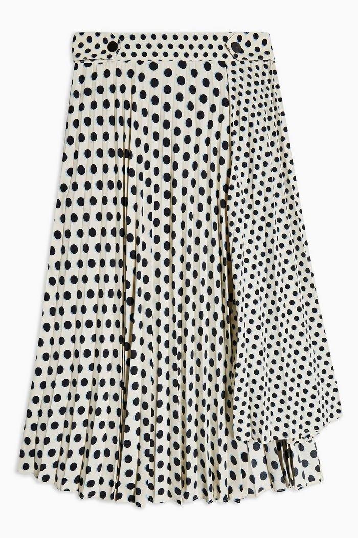 Monochrome Spot Pleat Midi Skirt | Topshop white