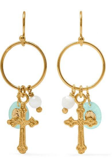 Chan Luu   Gold-plated, amazonite and bead earrings   NET-A-PORTER.COM