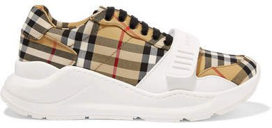 Checked Canvas Sneakers - Beige