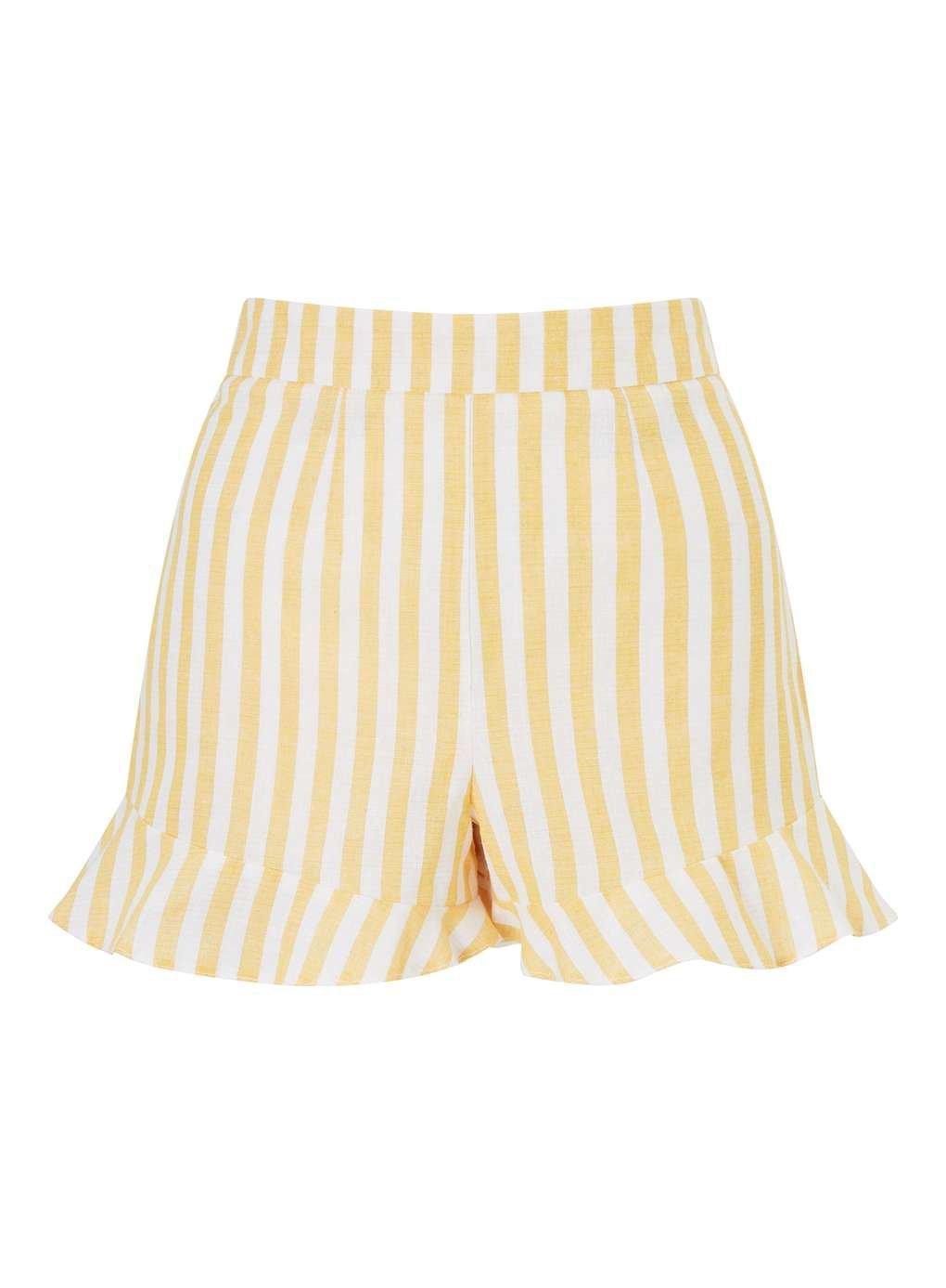 PETITE Yellow Striped Frill Hem Shorts - Holiday Shop - Clothing - Miss Selfridge