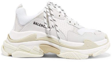 Triple S Suede, Leather And Mesh Sneakers - White