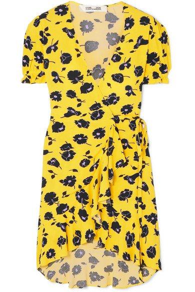 Diane von Furstenberg | Emilia ruffled floral-print crepe wrap dress | NET-A-PORTER.COM