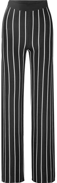 Striped Woven Wide-leg Pants - Black