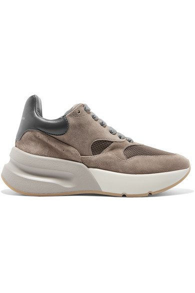 Alexander McQueen | Suede, leather and mesh exaggerated-sole sneakers | NET-A-PORTER.COM