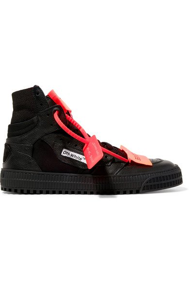 Off-White   Appliquéd logo-embellished textured-leather and mesh sneakers   NET-A-PORTER.COM
