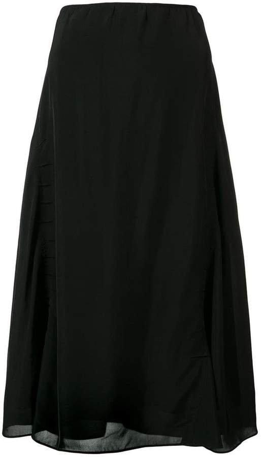 sheer shirred skirt