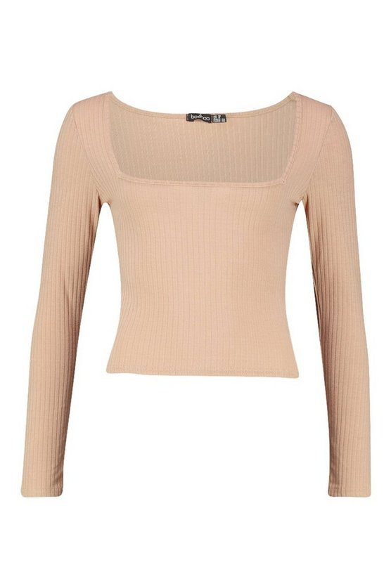 Square Neck Rib Knit Top crop | Boohoo