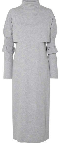 Layered Cotton-jersey Turtleneck Midi Dress - Gray