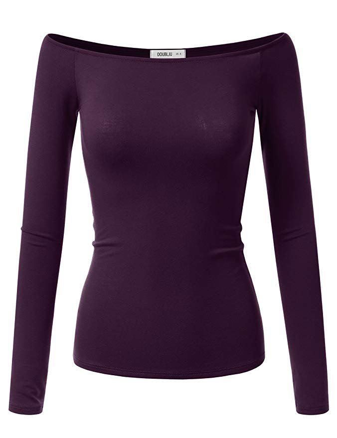 Dark-Purple Off-The-Shoulder Long-Sleeve Shirt