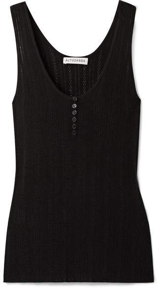 Pointelle-knit Wool And Cashmere-blend Tank - Black
