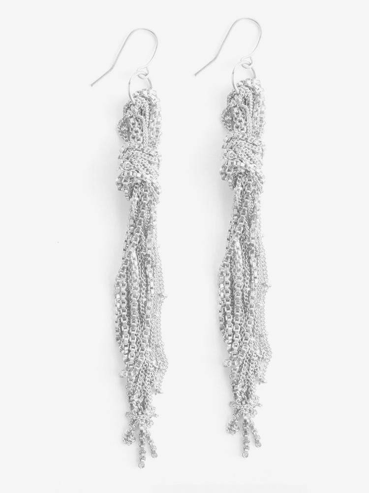 Knotted Fringe Earring Silver