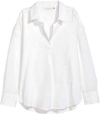 Oversized Linen-blend Shirt - White