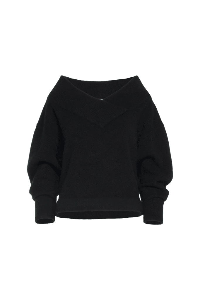 wool v neck cropped sweater png black - Google Search