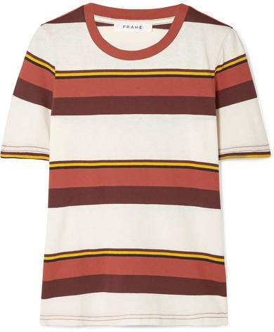 True Crew Striped Cotton-jersey T-shirt - Red