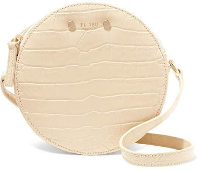 TL-180 - Tambour Croc-effect Leather Shoulder Bag - Cream