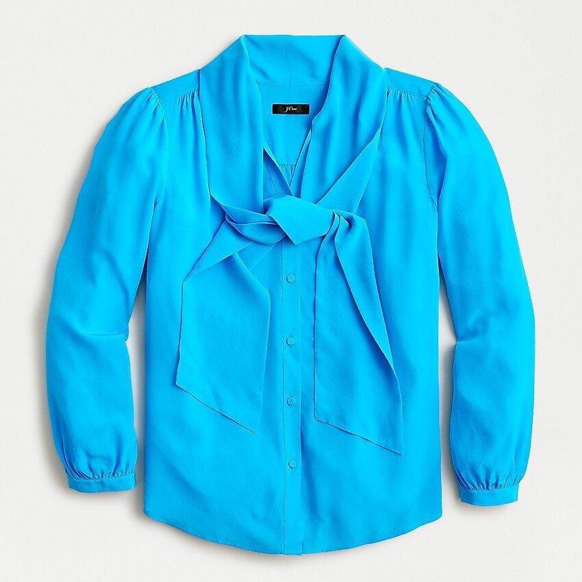 J.Crew: Silk Tie-neck Blouse blue
