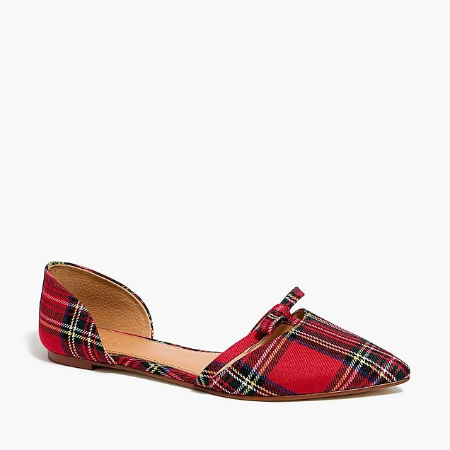 Tartan plaid d'orsay flat with bow : FactoryWomen Flats | Factory