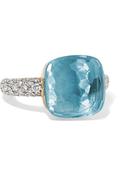 Pomellato | Nudo 18-karat white gold, topaz and diamond ring | NET-A-PORTER.COM