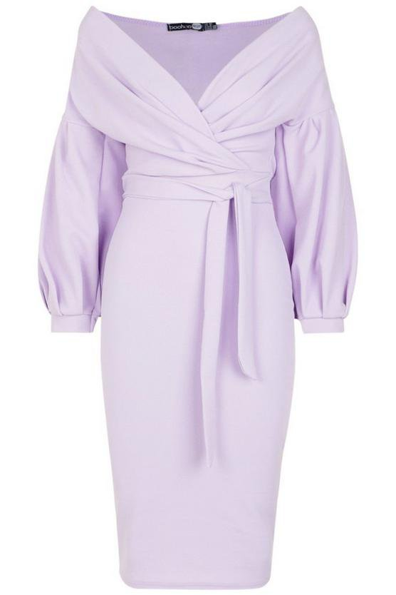 Off The Shoulder Wrap Midi Bodycon Dress | Boohoo