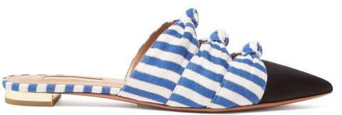 Mondaine Knot Detail Striped Backless Loafers - Womens - Blue White
