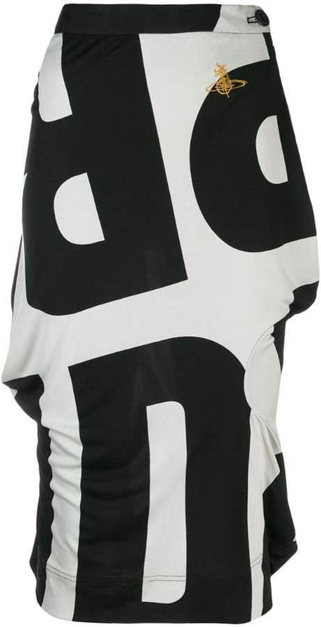 Pre-Owned logo print midi skirt