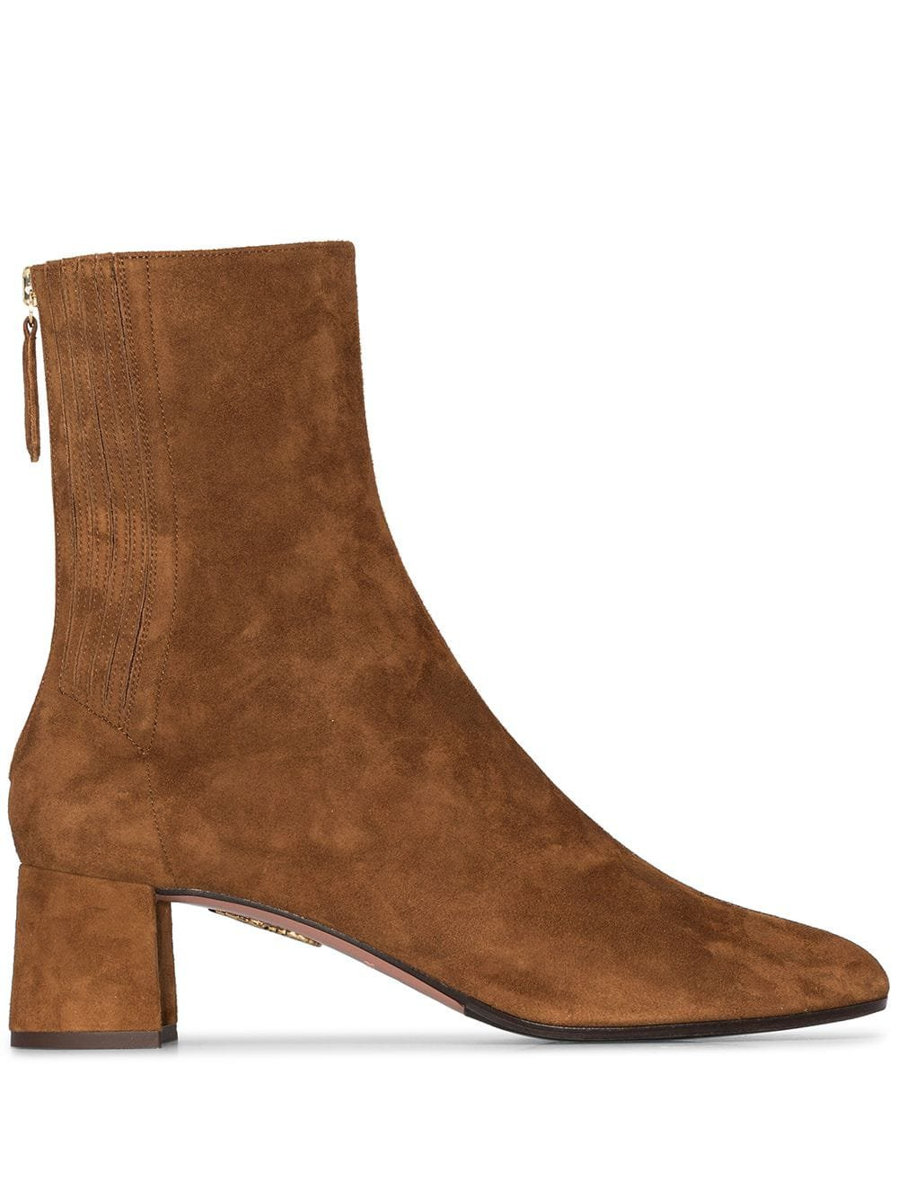 Aquazzura Camel Brown Saint Honore 50 Suede Ankle Boots - Farfetch