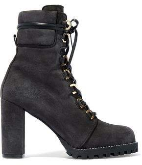 Leather-trimmed Suede Ankle Boots