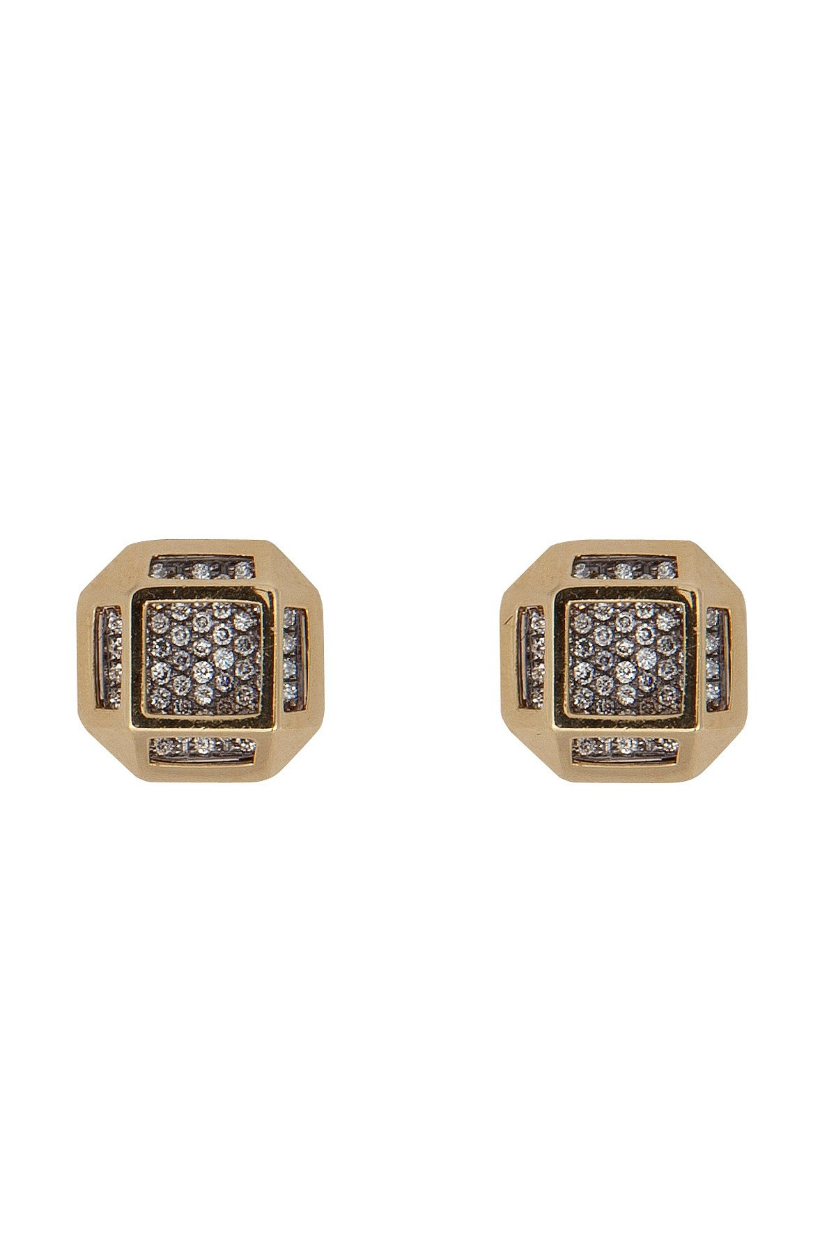 18kt Gold Cube Cage Earrings with Diamonds Gr. One Size