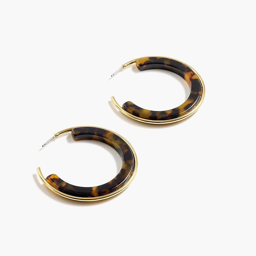 J.Crew: Gold-lined Hoop Earrings In Resin