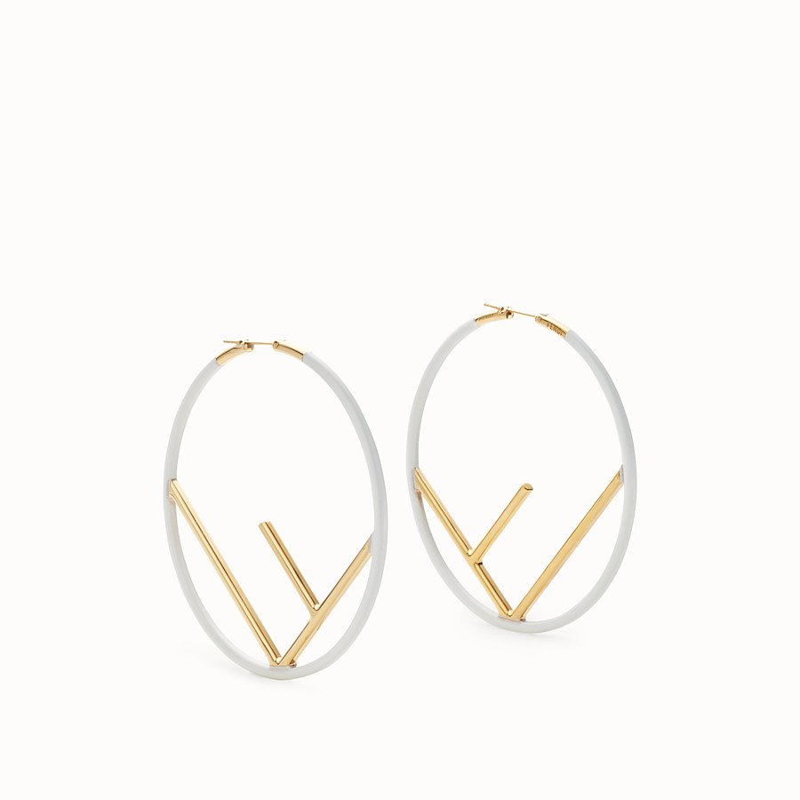 Gold and white coloured earrings - F IS FENDI EARRINGS | Fendi