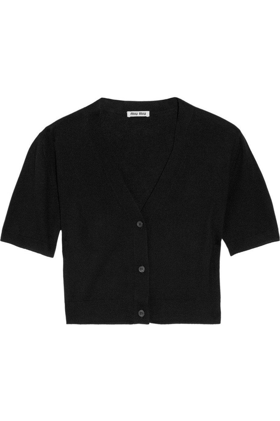 Miu Miu | Cropped cashmere and silk-blend cardigan | NET-A-PORTER.COM