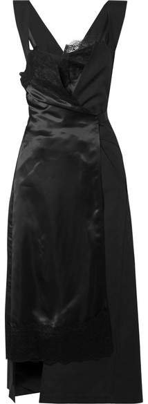 Lace-trimmed Paneled Satin And Twill Wrap Dress - Black