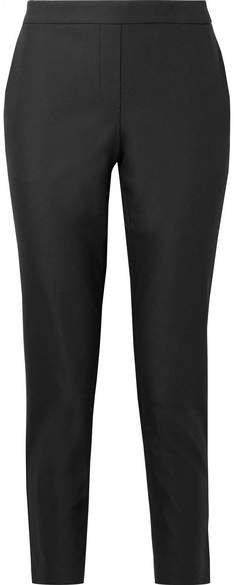 Thaniel Cropped Stretch Cotton-blend Twill Slim-leg Pants - Black