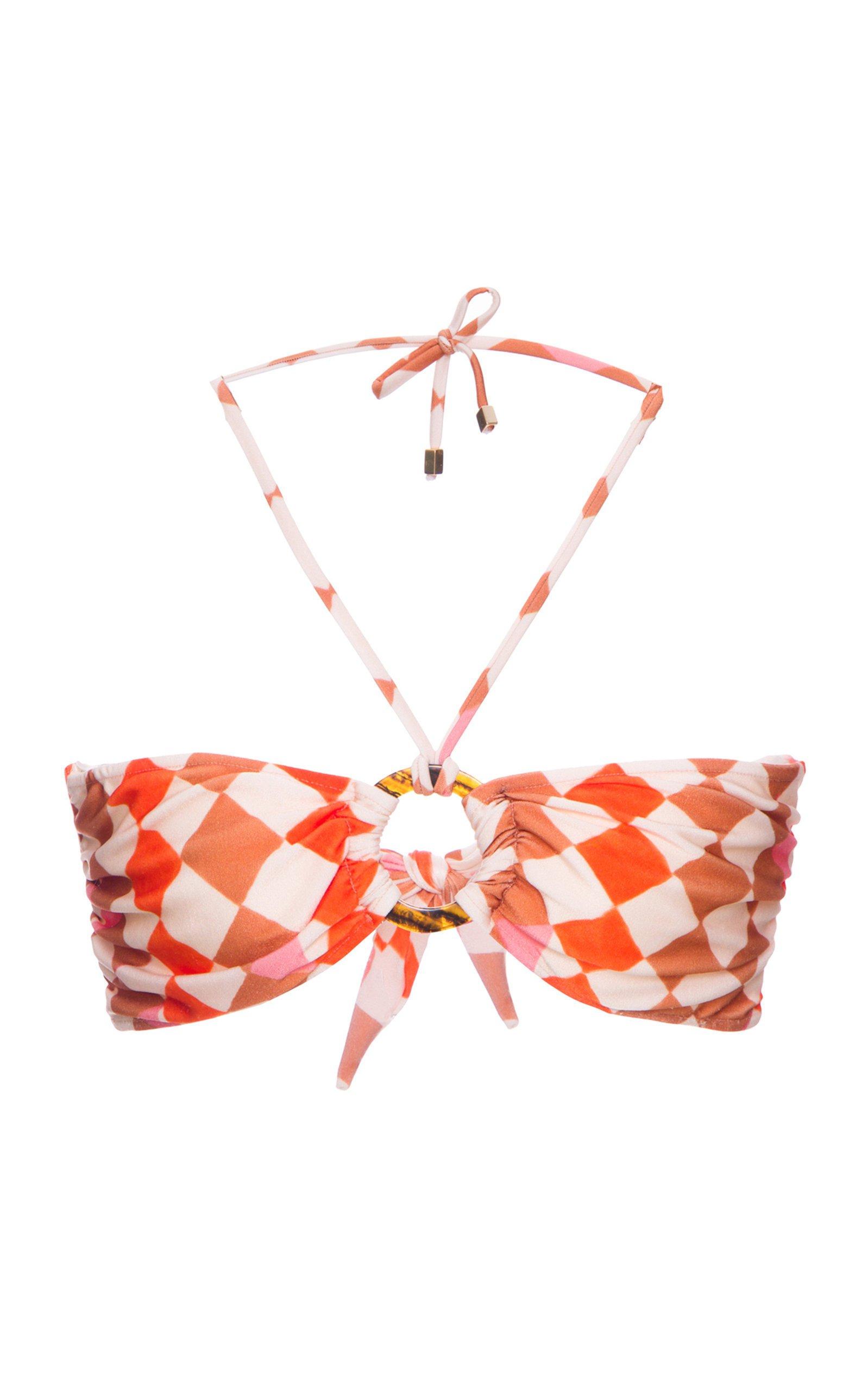 PatBO Check Bandeau Bikini Top Size: L