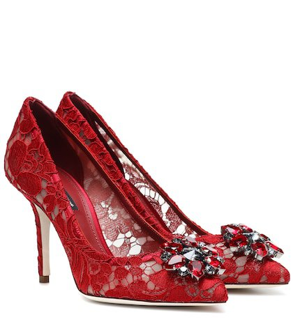 Belluci embellished lace pumps