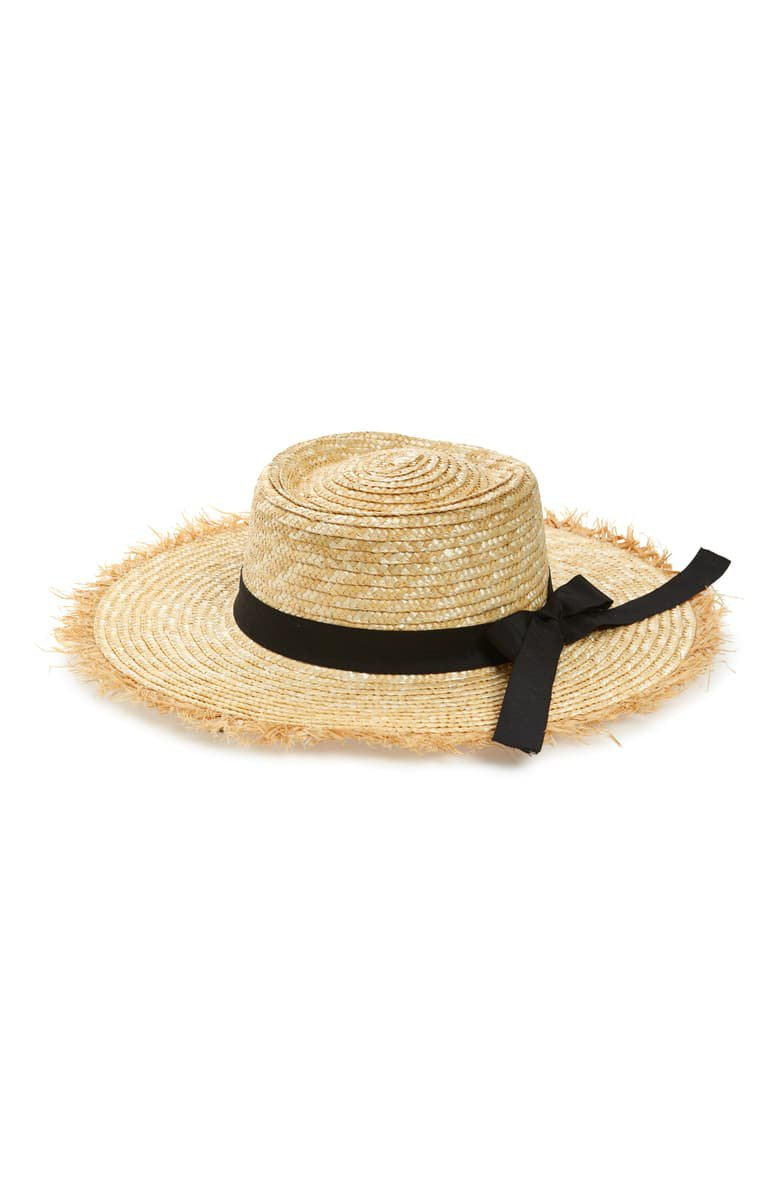 Something Navy Frayed Edge Straw Boater Hat (Nordstrom Exclusive) | Nordstrom